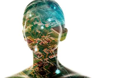 Bioelectronic medicine concept, human electrical signals and circuit